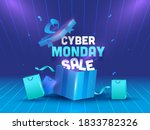cyber monday sale text with... | Shutterstock .eps vector #1833782326