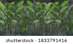 Tropical leaves on concrete dark background. Great choise for mural, card, postcard, wallpaper and photo wallpaper. Design for modern and loft interiors.