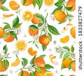 mandarin floral pattern  vector ... | Shutterstock .eps vector #1833827479