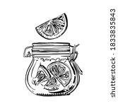 a jar of orange jam. vector...   Shutterstock .eps vector #1833835843