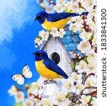 Two Yellow Birds Titmouse...