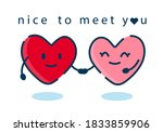 couple in love. cartoon hearts... | Shutterstock .eps vector #1833859906