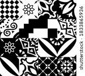 set of 16 tiles azulejos in...   Shutterstock .eps vector #1833865936