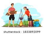 people camping  preparing food... | Shutterstock .eps vector #1833892099