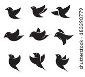 set of vector bird icons on... | Shutterstock .eps vector #183390779