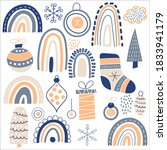 vector christmas pattern with... | Shutterstock .eps vector #1833941179