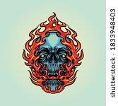 Fire Skull Head Mascot...