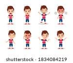 cute kid boy character set... | Shutterstock .eps vector #1834084219