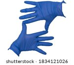 Small photo of Hands wearing blue nitrile examination gloves, making a square or rectangle frame between thumb and index finger with fingers splayed