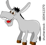 An illustration of a cute grey cartoon donkey character - stock vector