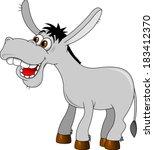 An illustration of a cute grey cartoon donkey character