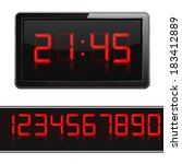 red digital clock and numbers ... | Shutterstock .eps vector #183412889