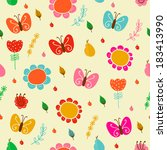 bright floral romantic seamless ... | Shutterstock .eps vector #183413990