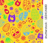 seamless pattern of easter eggs ... | Shutterstock . vector #183414680