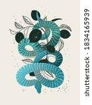 snake hand drawn vector... | Shutterstock .eps vector #1834165939
