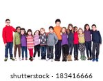 group of children holding hands ... | Shutterstock . vector #183416666