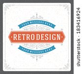 retro typographic design... | Shutterstock .eps vector #183416924