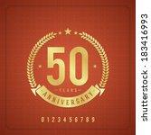 golden vintage anniversary...   Shutterstock .eps vector #183416993
