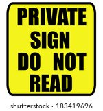 private sign do not read sign... | Shutterstock . vector #183419696