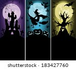 set of halloween banners with... | Shutterstock .eps vector #183427760