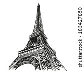 hand drawn eiffel tower. paris  ... | Shutterstock .eps vector #183427850