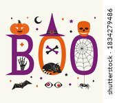 boo hallowen holiday quote...   Shutterstock .eps vector #1834279486