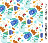 cute christmas pattern design... | Shutterstock . vector #1834322719