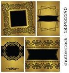 set of vintage cards and frames....   Shutterstock . vector #183432290