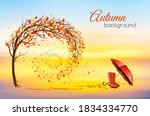 hello a gold autumn. autumn... | Shutterstock .eps vector #1834334770