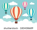 hot air balloon and clouds | Shutterstock .eps vector #183438689