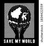 save my world design for print...   Shutterstock .eps vector #1834422559