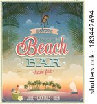 vintage beach bar poster.... | Shutterstock .eps vector #183442694