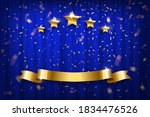 blue curtain with golden... | Shutterstock .eps vector #1834476526