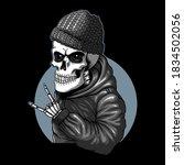 skull funky style vector... | Shutterstock .eps vector #1834502056