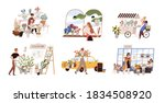 set of people work at florist... | Shutterstock .eps vector #1834508920