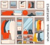 organized clothing on hangers... | Shutterstock .eps vector #1834518913