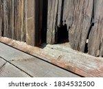 Cat Door In Old Wooden Barn