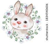 White Rabbit In Floral Wreath....