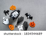 halloween flat lay composition... | Shutterstock . vector #1834544689