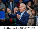 Small photo of IOWA, AMERICA - MAY 01, 2020: Vice President Joe Biden attends the McKinley Elementary School gymnasium in Des Moines, discussing issues including the recent escalation with Iran.