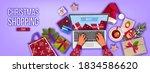 christmas online shopping... | Shutterstock .eps vector #1834586620