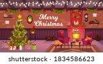 winter christmas room interior...