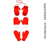 vector  isolated  red mittens... | Shutterstock .eps vector #1834612990