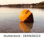 Yellow Mooring Buoy Close Up.   ...