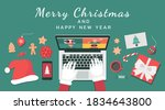 santa claus hand using a laptop ... | Shutterstock .eps vector #1834643800