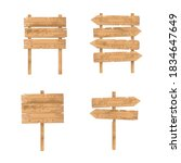 Wooden Signs Set. Rough Rustic...