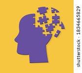 human head made of jigsaw... | Shutterstock .eps vector #1834665829