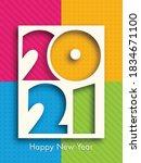 happy new year 2021 text design ... | Shutterstock .eps vector #1834671100