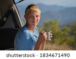 a young man is resting in... | Shutterstock . vector #1834671490
