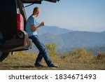 a young man is resting in... | Shutterstock . vector #1834671493